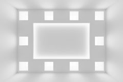 Abstract white wall with square embedded lamps Stock Photo