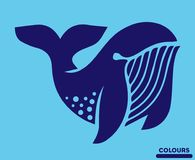 Abstract White Whale. Illustration of Abstract White Whale Logo in portrait pose showing ears, eyes and beak constructed from various shapes of material paper Royalty Free Stock Photos