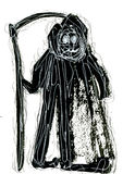 Abstract wicked Grim Reaper watercolour Royalty Free Stock Photo