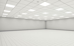 Abstract wide empty office room interior 3d. Abstract wide empty office room interior with white walls, ceiling illumination and floor tiling. 3d illustration royalty free illustration