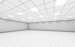 Abstract wide empty office room interior 3 d. Abstract wide empty office room interior with white walls, ceiling illumination and floor tiling, 3d illustration royalty free illustration