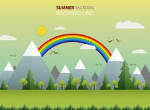 Abstract of wide summer view in nature with clear sky and rainbow background. Abstract of wide summer view in nature with clear sky and rainbow background Royalty Free Stock Photography