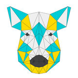 Abstract wild boar  on white . Polygonal triangle geometric illustration Stock Photos