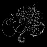 Abstract wildflower outline icon isolated on black background. Hand Drawn vector illustration. Line art. Sketch.  vector illustration