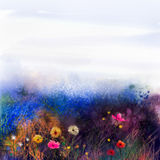 Abstract wildflowers, watercolor painting flower in meadows. Hand paint White, Yellow, Pink, Red, daisy gerbera flowers on purple blue grunge color texture Stock Image