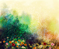 Abstract wildflowers, watercolor painting flower in meadows. Hand paint White, Yellow, Pink, Red, daisy gerbera flowers on yellow green grunge color texture stock illustration