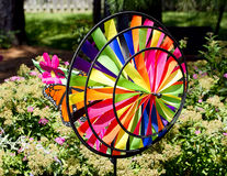 Abstract Wind Spinner Closeup in Garden Stock Image