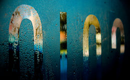 Abstract of window lettering. Lettering on a cafe window with condensation Royalty Free Stock Images