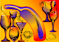 Abstract wine background with glasses Royalty Free Stock Photo