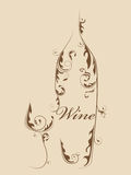 Abstract wine bottle Stock Images