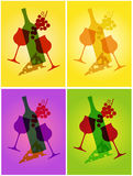 Abstract wine and cheese background. Vector illustration of wine and cheese silhouettes Stock Photo