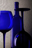 Abstract Wine Glassware Design. Abstract background design made from  empty wine glasses ,bottle and screen Stock Photo