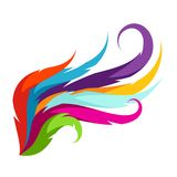 Abstract wing with colorful feathers. Decorative element Stock Image