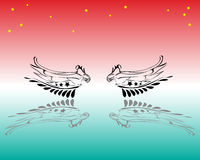 Abstract wings. Abstract colored illustration with wings and yellow stars Royalty Free Stock Photography