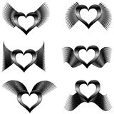 Abstract wings with hearts Royalty Free Stock Photos
