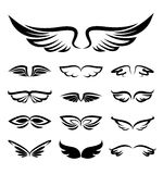 Abstract wings icons set Stock Photos