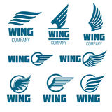 Abstract wings vector logo set for delivery, cargo, business companies. Badge company wing logo, business wing logo, icon wing fast illustration Royalty Free Stock Photography