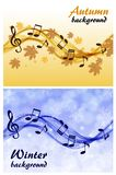 Abstract winter and autumn background with music notes and a treble clef. With leaves and snowflakes vector illustration