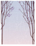 Abstract Winter background. Blue grey winter scene with bare trees stock illustration