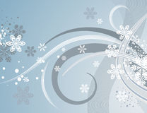 Abstract winter background. With snowflakes and waves,  illustration in soft blue, grey and white colors Royalty Free Stock Images