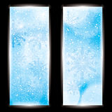 Abstract winter background banner. Abstract winter blue snowflakes banner background Stock Photo
