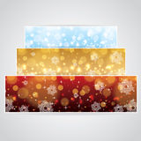 Abstract winter background banner. Abstract winter 3 color snowflakes banner background blue red gold Royalty Free Stock Images