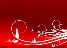 Abstract winter background with firtree silhouettes and Santa Cl Stock Image