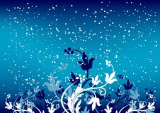 Abstract winter background with flakes and flowers in blue color stock illustration