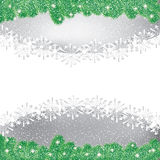 Abstract winter background. Abstract winter green pine snowflakes background Royalty Free Stock Images