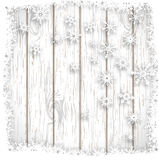 Abstract winter background, illustration. Abstract winter background, stylized snowflakes on white wooden background, vector illustration, eps 10 with Stock Photo