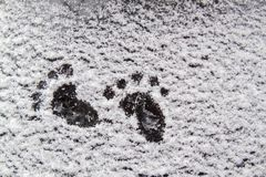 Abstract winter background about nature, interesting heel mark on white snow. stock images