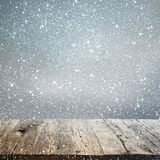 Abstract winter background with an old wooden table Stock Images