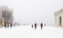 Abstract winter background with silhouettes Stock Photography