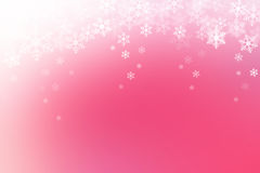 Abstract winter background, snow flakes falling on pink gradient Stock Images