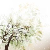 Abstract winter background with tree and snow Royalty Free Stock Images
