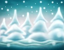Abstract winter background. With trees and snow Vector Illustration