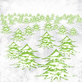 Abstract winter background with trees and snowflakes Stock Image