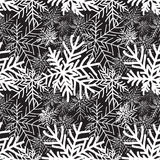 Abstract winter black and white seamless pattern. Snow forest te Royalty Free Stock Photography