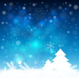 Abstract winter blue background. With snowflakes and Christmas trees. Vector illustration Stock Image