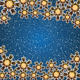 Abstract winter blue golden. Snowflakes background Stock Image