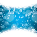 Abstract winter blue snowflakes Stock Photography