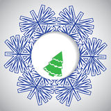 Abstract winter Christmas background. With snowflake and tree Royalty Free Stock Photo