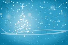 Abstract winter christmas blue background. Abstract winter blue background, with stars, snowflakes and Christmas tree, illustration Royalty Free Stock Photo