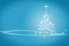 Abstract winter christmas blue background. Abstract winter blue background, with stars, snowflakes and Christmas tree, illustration Royalty Free Stock Photos