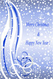 Abstract winter christmas blue background. Abstract winter silver background with  snowflakes and Christmas congratulation, illustration Royalty Free Stock Photo