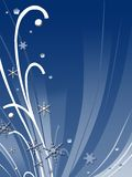Abstract winter design. Abstract blue winter design with curves and snowflakes Stock Images