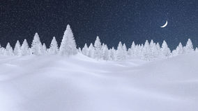 Abstract winter fir forest at snowfall night. Decorative winter scenery with spruce forest completely covered with snow under dark night sky with a half moon and Stock Photo