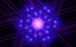 Abstract winter flower with pink stars of blue and pink with rays and lines in the background on a black background Stock Photography