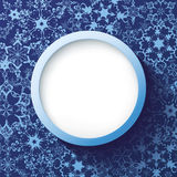 Abstract winter frame blue with ornate snowflakes. Abstract trendy winter frame blue with ornate snowflakes. 3d background with white snowflakes. New Year and Stock Photo