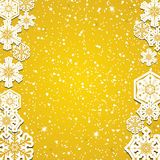 Abstract winter golden snowflakes. Background Royalty Free Stock Images